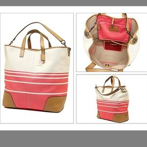 Coach Large Hadley Coral/Cream Canvas Tote